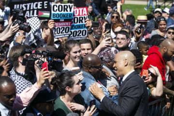 Cory Booker at his April 2019 kickoff rally in Newark. (Aristide Economopoulos | NJ Adva/)