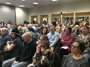 The city council meeting room at the Phillip L. Pittore Justice Center overflowed with residents of Lambertville on Thursday evening. (Caroline Fassett/)