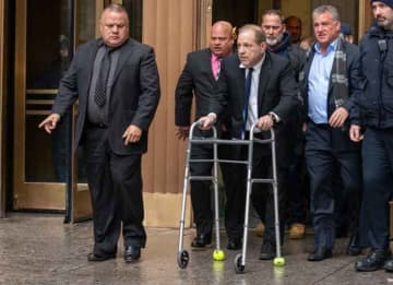 NEW YORK, NY - DECEMBER 11: Movie producer Harvey Weinstein departs from criminal court after a bail hearing on December 11, 2019 in New York City. Weinstein was in court for a ruling on whether he will remain free on bail or if his bail will...