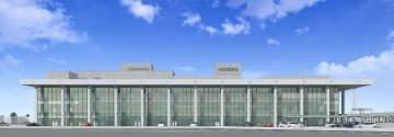 南側から望む鳥栖市の新本館イメージ図。ほぼ全面ガラス張りで、光や風雨による劣化を防ぐため、ひさしを最大7メートル張り出している(鳥栖市提供)