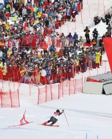 苗場スキー場でアルペンW杯開幕 「雪上のF1」に観客ら歓声