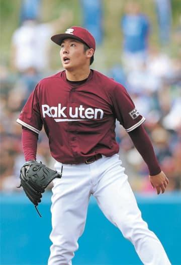 DeNA戦の1回、ロペスに適時二塁打を許し打球の行方を見つめる東北楽天先発の松井