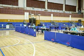 マカオ政府が防疫対策の一環として設置した医学検査ステーション=マカオ・工人體育館(写真:GCS)