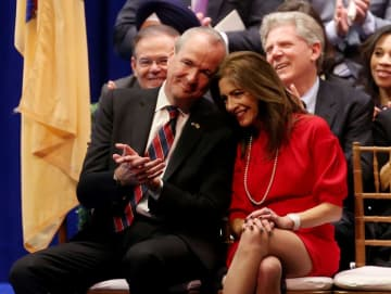Gov. Phil Murphy (left) is pictured with his wife, First Lady Tammy Murphy, in 2018.  (Ed Murray/)(Ed Murray/)