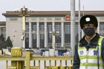 中国全人代の会場となる北京の人民大会堂=24日(共同)