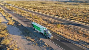 The TuSimple self-driving truck is pictured in this undated handout photo obtained by Reuters May 20, 2019. [Photo\Agencies]