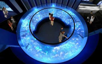 新たなクラゲ展示エリアの目玉となるドーナツ形水槽のイメージ