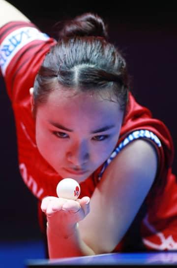 伊藤美誠 PHOTO:@ITTFWorld