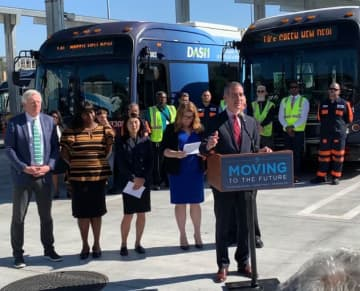 Los Angeles Mayor Eric Garcetti spoke at an event at the city's Department of Transportation on Thursday, Feb. 20, 2020. (Image credit: BYD)