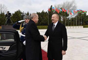 Turkish President Recep Tayyip Erdogan arrives in Baku