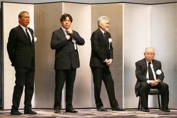 2018年1月25日、野村沙知代さんのお別れ会。写真右から、克也さん、団氏、克則氏、ケニー氏
