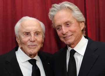 SANTA BARBARA, CA - OCTOBER 13: Actor Kirk Douglas (L) and actor Michael Douglas attend SBIFF's 2011 Kirk Douglas Award for Excellence In Film honoring Michael Douglas at the Biltmore Four Seasons on October 13, 2011 in Santa Barbara, California.