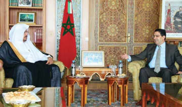 Saudi Shoura Council Speaker Dr. Abdullah Al-Asheikh holds talks with Nasser Bourita, Morocco's minister of foreign affairs, in Rabat. (SPA)