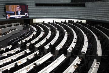 The censure debate at parliament on Feb 25. (File photo)