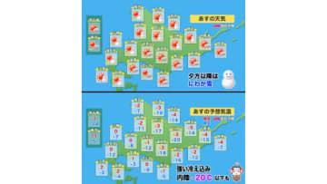 【北海道の天気 2/26(水)】朝の冷え込み強まる!日中も真冬の寒さで粉雪が舞う?