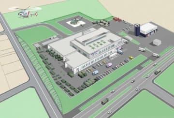 北広島市防災食育センターの完成予想図。右は市消防署大曲出張所(市提供)