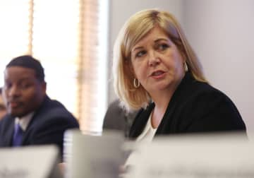 Brigid Harrison, a Congressional candidate challenging U.S. Rep. Jeff Van Drew in South Jersey, held a panel on legalizing marijuana at the law firm of Cooper Levenson in Atlantic City, Wednesday, March 4, 2020. (David Gard | For NJ Advance Media/)