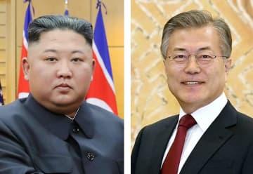 北朝鮮の金正恩朝鮮労働党委員長(朝鮮中央通信=共同)、韓国の文在寅大統領
