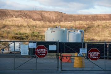 Gas vents on the Keegan Landfill in Kearny, Oct. 18, 2019. (Reena Rose Sibayan | The Jersey Journal) (Reena Rose Sibayan/)