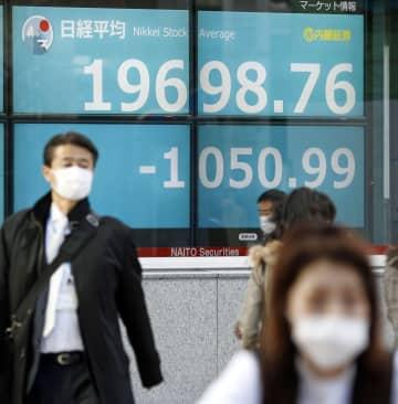 2万円を割り込んだ日経平均株価の終値を示すボード=9日午後、東京都中央区