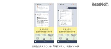 LINE公式アカウント「学校プラン」利用イメージ