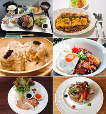 (左上から)日本料理 くろ松「豚とん唐から膳」、パーラーレストラン モモヤ「tontonナポリタン」、(中段左から)グンマーネオ酒場 リバール。「上州麦豚トリュフ焼売」、DINING BEN「麦豚リブロースとこだわり玉子の照り焼きご飯」、(左下から)居酒屋ダイニング粋源「やまと豚のガーリック焼」、レストランロッタ「ロッタのお肉丼」