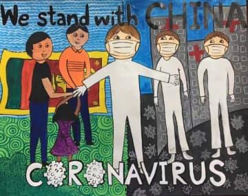 スリランカの学生、中国の新型肺炎との闘いを芸術作品で支持