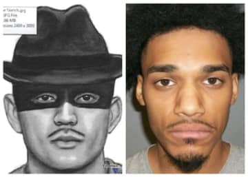 The fedora-hat bandit in a police sketch from last year, and Jermaine Ramirez, 25, of Rahway on the right.