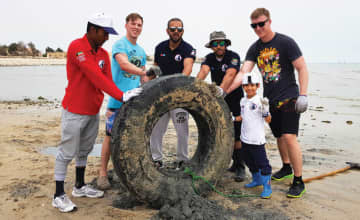 The Kuwait Dive Team takes regular trips to monitor the corals and clear sea debris, removing sunken boats, ghost nets and beach trash from the waters in efforts to protect Kuwait's marine environment. (Supplied)