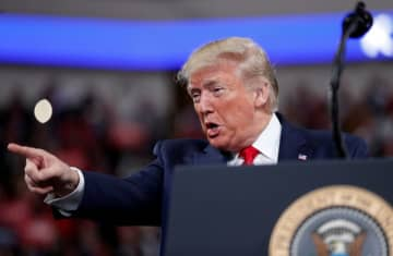 U.S. President Donald Trump delivers remarks during a campaign rally at the Giant Center in Hershey, Pennsylvania, U.S., December 10, 2019 (photo credit: REUTERS//TOM BRENNER)