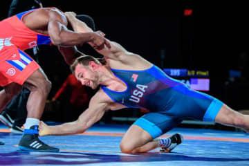 ひざの手術から復帰し、オリンピック出場枠を手にしたデービッド・テーラー(米国)=提供・UWW