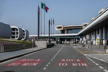 人気のない、イタリア、ミラノ・マルペンサ空港(3月18日)