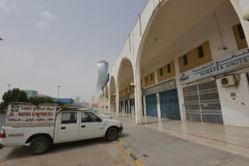 A picture taken March 18, 2020 shows Riyadh's closed Tiba Trade Centre in the Saudi capital.
