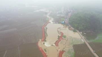 湖南省新田県で豪雨災害