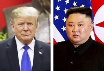 トランプ米大統領、北朝鮮の金正恩朝鮮労働党委員長(いずれもAP=共同)