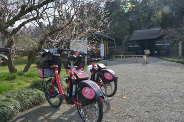 偕楽園表門に駐輪スペースがあるバイクシェア水戸。市内10カ所に乗降場所がある=水戸市三の丸