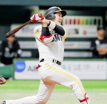 ロッテとの練習試合の4回、右越えに本塁打を放つソフトバンク・栗原陵矢=3月22日、ペイペイドーム