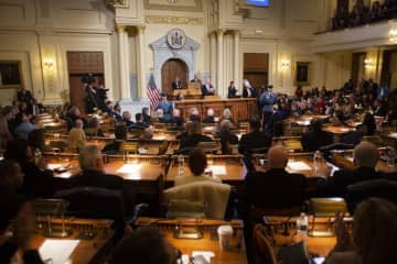 The Assembly chamber was full a few months ago when Gov. Phil Murphy delivered his annual State of the State address. It was pretty much empty Wednesday in its first-ever remote voting session.  (Michael Mancuso   NJ Advance Media for NJ.com/)