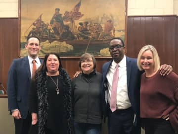 Flemington Mayor Betsy Driver (center) is planning on doing online updates twice a week with her town council and residents. (Courtesy/)