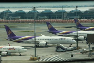THAI aeroplanes parked at Suvarnabhumi airport. With tourism at a standstill, operators are anxious for aid. Somchai Poomlard