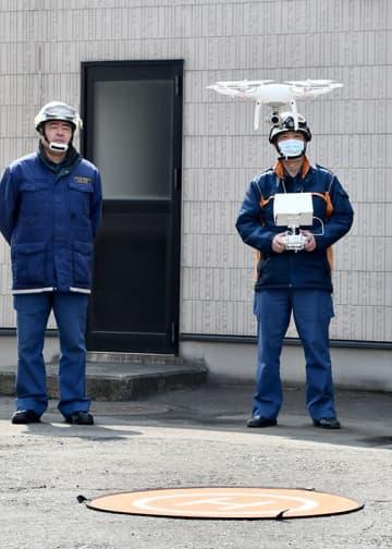 火災、災害時の早期情報収集のため奥州金ケ崎行政事務組合消防本部が運用しているドローン