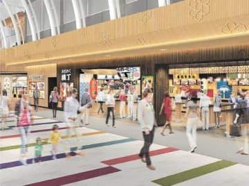 ターミナルビルの改修イメージ。東北の地酒や食品などが楽しめる横丁のような空間も計画する