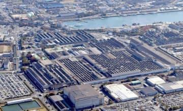軽自動車の生産を一時停止した三菱自動車水島製作所=倉敷市水島海岸通