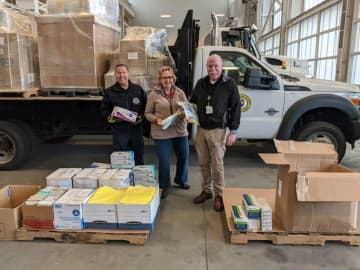 Hudson County Community College delivers PPE and health care supplies to the Hudson County Office of Emergency Management. Kathleen Smith-Wenning, Director of Health Related Programs and Coronavirus Task Force Co-Chair, is pictured in center.(HCCC /)