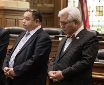 Jersey City Councilmen Rolando Lavarro and Councilman Michael Yun in 2018. (Reena Rose Sibayan | The Jersey/)