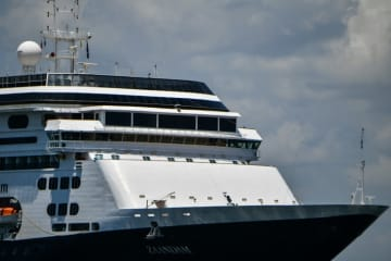 The Zaandam cruise ship, seen here entering Panama City Bay, has reported four coronavirus deaths on board.