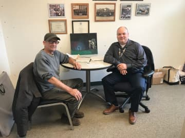 Navy veteran and Flemington resident Joe Scurti (left) and fellow Navy veteran and Veterans Services officer Richard Booth (right). (Caroline Fassett/)
