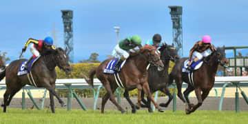 第50回高松宮記念でゴールに向かうモズスーパーフレア(右端)=中京競馬場