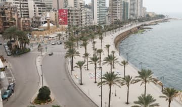 A view of empty Beirut's seaside Corniche, as Lebanon extends a countrywide lockdown by two weeks to combat the spread of coronavirus disease (COVID-19) in Beirut, Lebanon March 26, 2020. (REUTERS)
