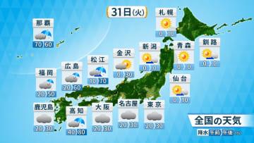 31日(火)全国の天気と降水確率